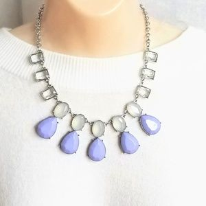 Statement Necklace Silver Tone & Lavender